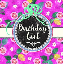 Greeting card - Happy Birthday girl - Foil Emb Motif