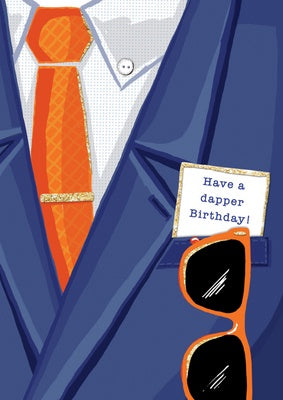 Greeting card - Happy Birthday - suit tie, note insert