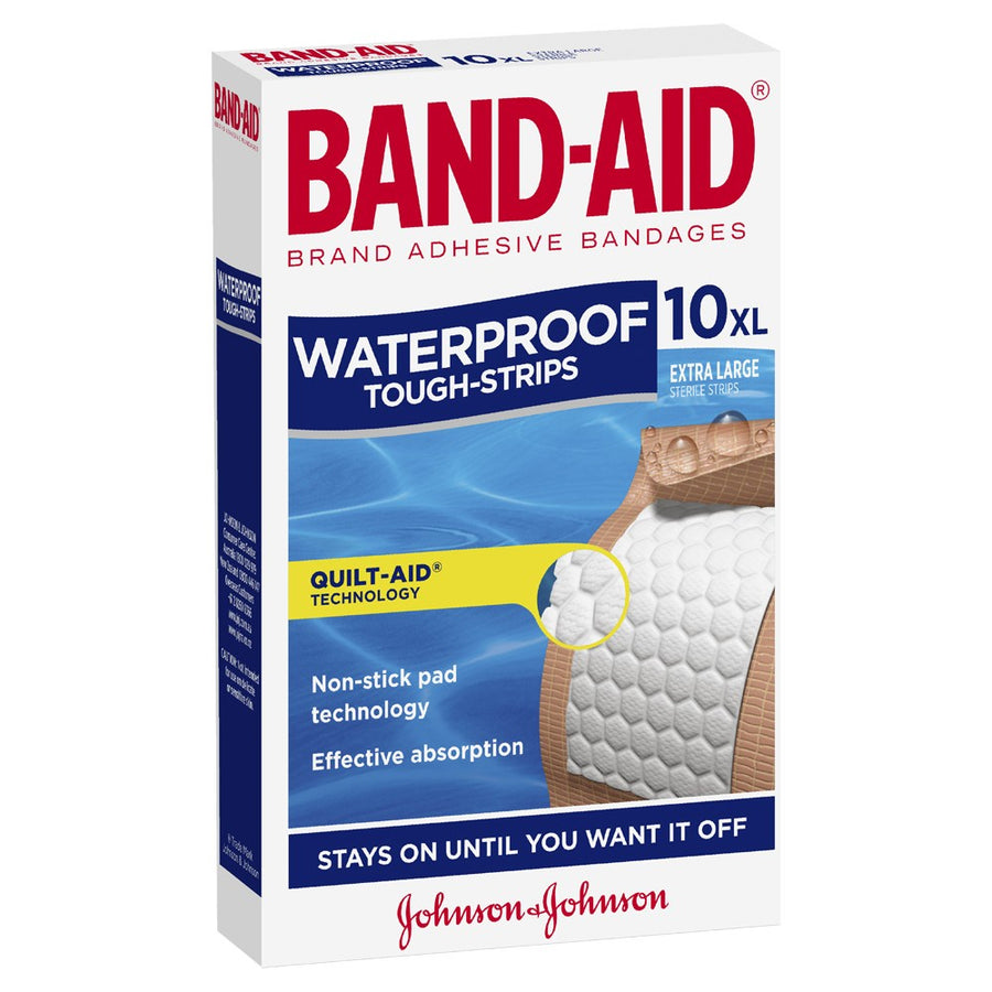 Band Aid Tough Strips Waterproof Extra Large 10pk