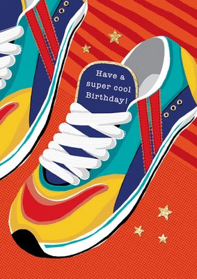 Greeting card - Happy Birthday - trainers, note insert
