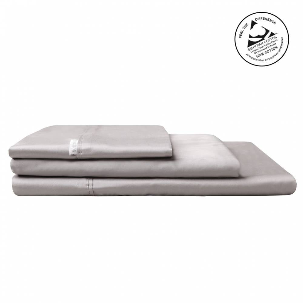 Logan & Mason Egyption Cotton King Sheet Set Sateen Pewter 400 Count