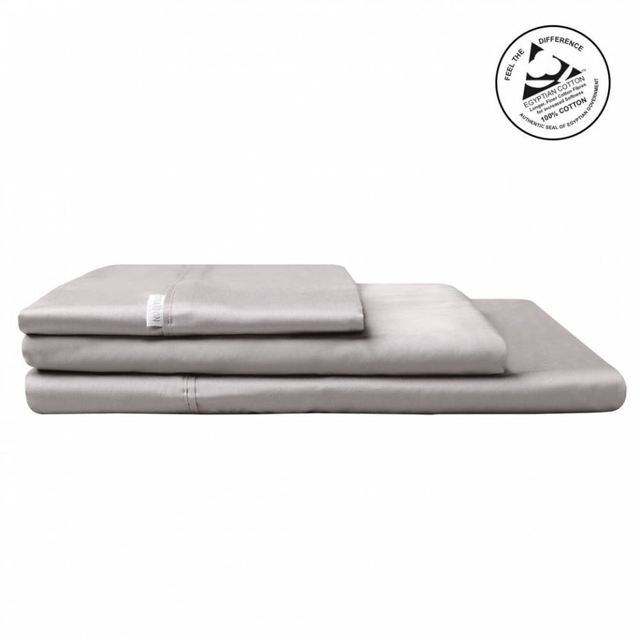 Logan & Mason Egyption Cotton  Queen  Sheet Set Set Sateen Pewter 400 Count