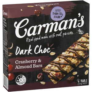 Carmans Dark Choc Cranberry and Almond Bars 6 Pack