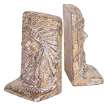 Indian Chief Bookends, Gold, cast iron
