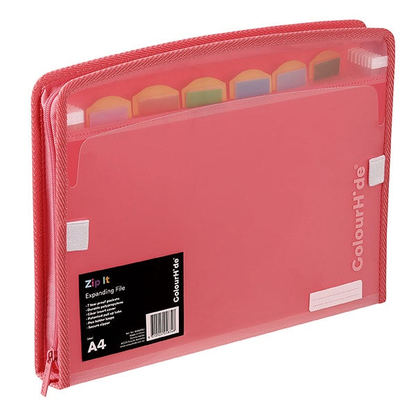 Colourhide Zip It Expanding File Watermelon
