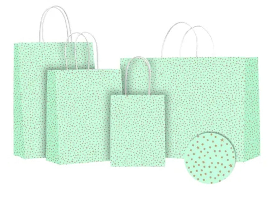 Gift Bag Starry Night Mint/Gold 160x200x80mm
