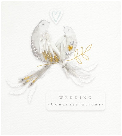 Greeting card - Wedding - 2 doves, emb foil