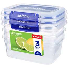Sistema Klip It Plus Rectangle 1L 3 pack