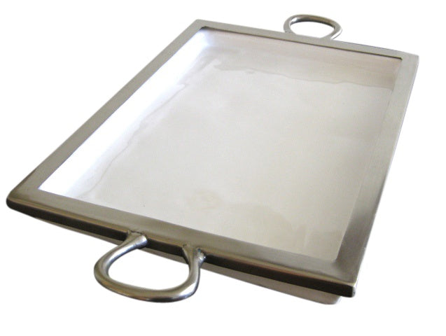 Ceramic rectangle Tray with Silver Rim
