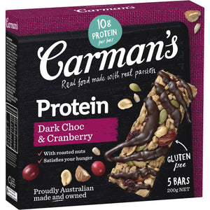 Carmans Dark Choc and Cranberry Protein Bars Gluten Free 5 Pk