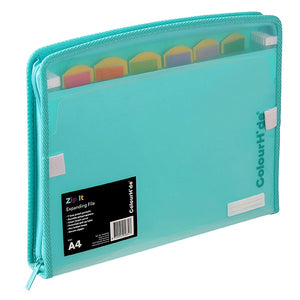 Colourhide Zip It Expanding File Aqua