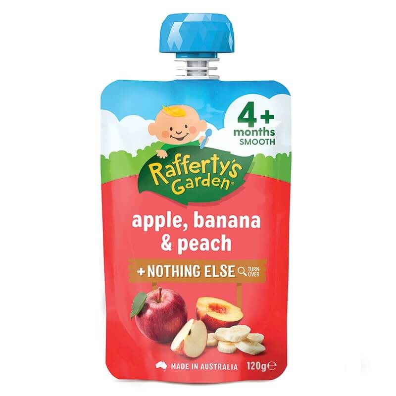 Raffertys Apple Banana & Peach  Pouch 120g