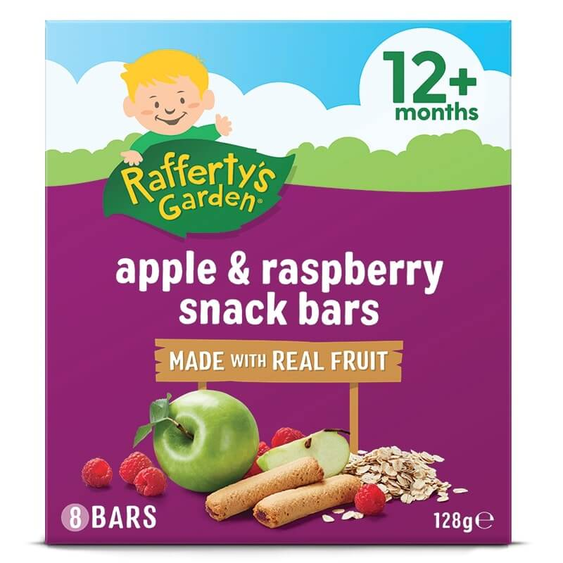 Raffertys Garden Fruit Snack Bar Apple & Raspberry 128g 12 + Months