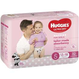 Huggies Ultra Dry Nappies Girls Size 5  13-18Kg  32 Pack