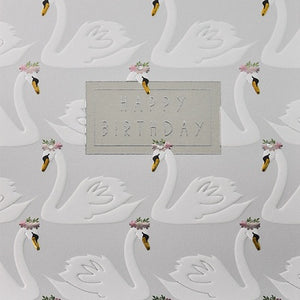 Greeting card - Happy Birthday - Swans Emb Foil