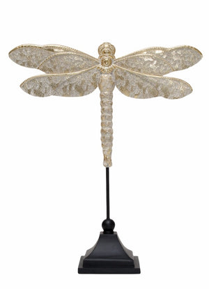 Dragonfly on stand - gold - 44cm