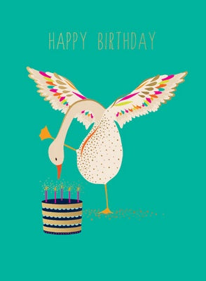 Greeting card - Happy Birthday - geese cake