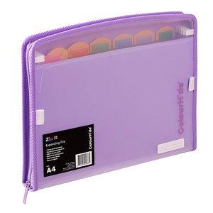 Colourhide Zip It Expanding File Purple