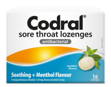 Codral Sore Throat Lozenges Soothing Menthol 16 pk