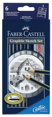 Faber-Castell Graphite Sketch Set 8 Piece - 6 Pencils 1 Sharpener 1 Eraser