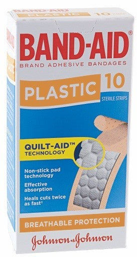 Band Aid Plastic Strips 10 pk
