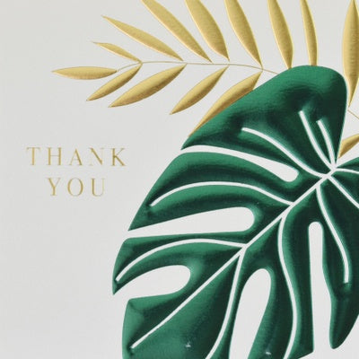 Greeting Card, Thank you, Tropical leaves
