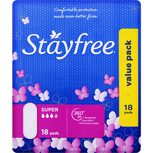 Stayfree No Wing  Super 18pk