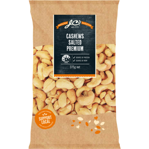 JCs Cashews Salted 375g