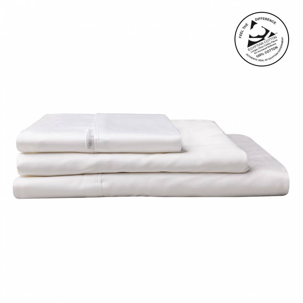 Logan & Mason Egyption Cotton Queen Sheet Set Sateen White 400 Count