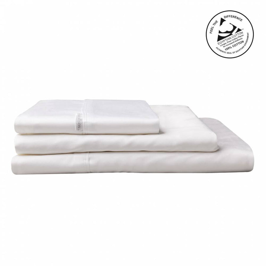 Logan & Mason Egyption Cotton Sgl Sheet Set Sateen Wht 400TC