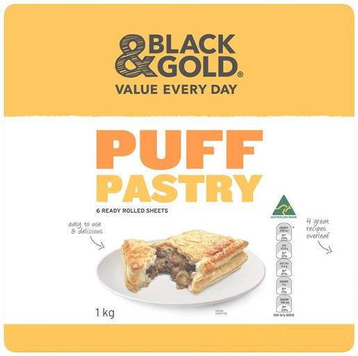 Black & Gold Puff Pastry Sheets 1kg