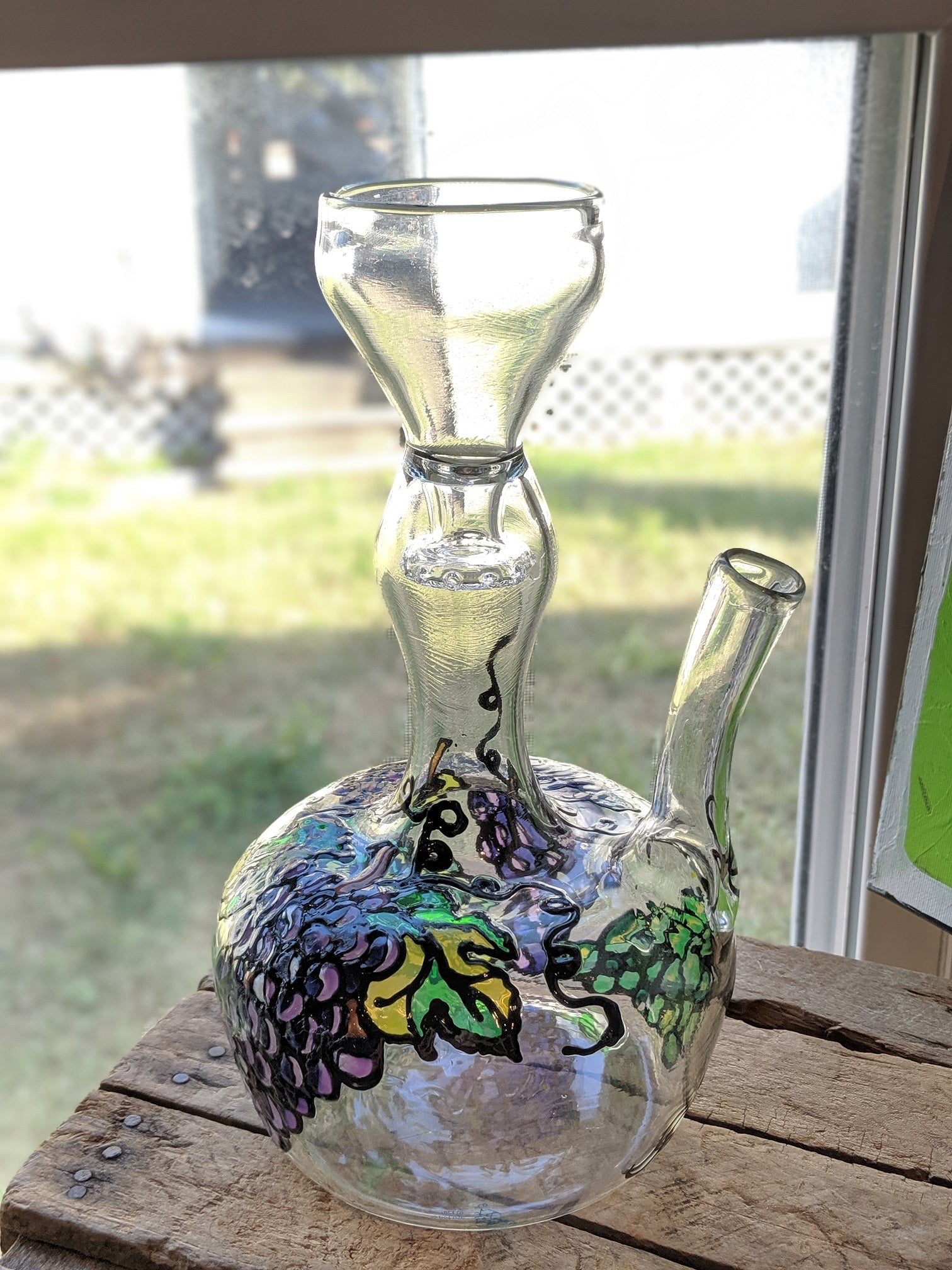 Hand-blown Decanter Custom Painted