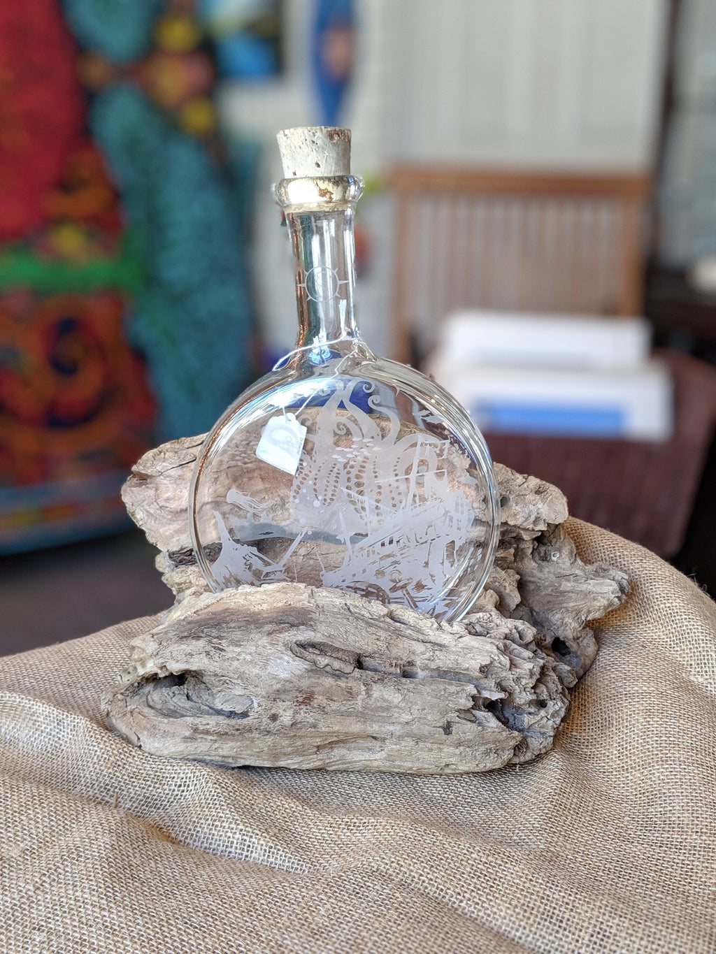 Hand-blown Liquor Decanter Etched and set in Outer Banks driftwood