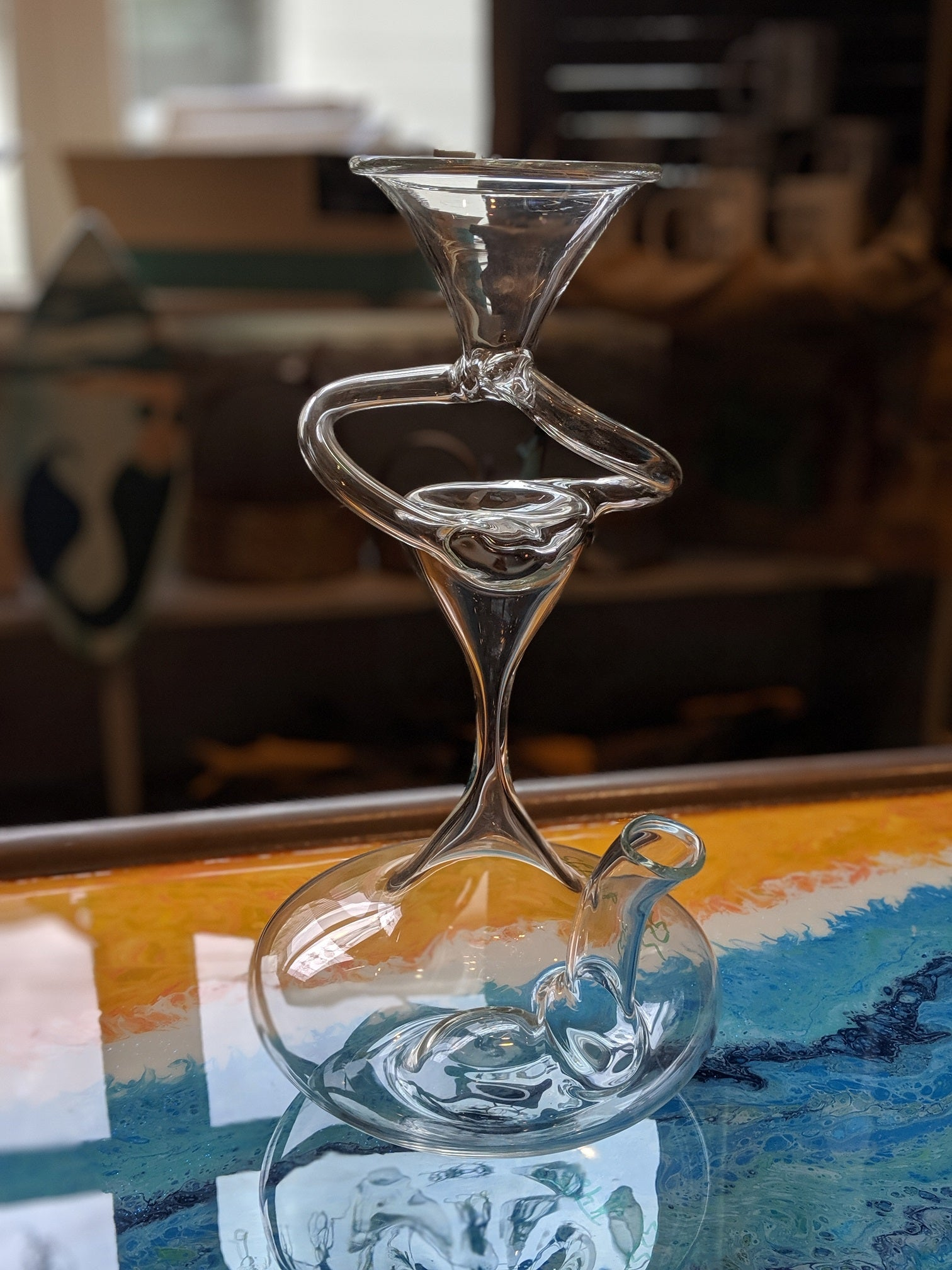 Hand-blown Vortex Wine Decanter