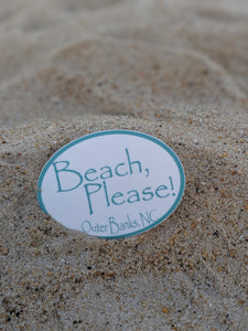 Beach, Please! Sticker 3x2 inches