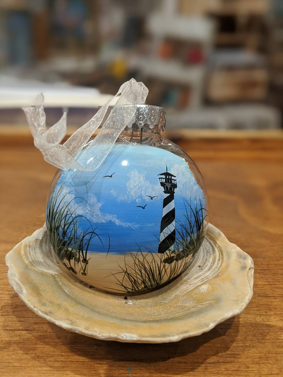 Hand-painted ornaments by Gretchen Hargis