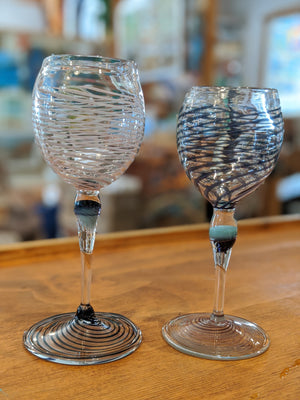 Hand-blown Jellyfish Wine Glasses