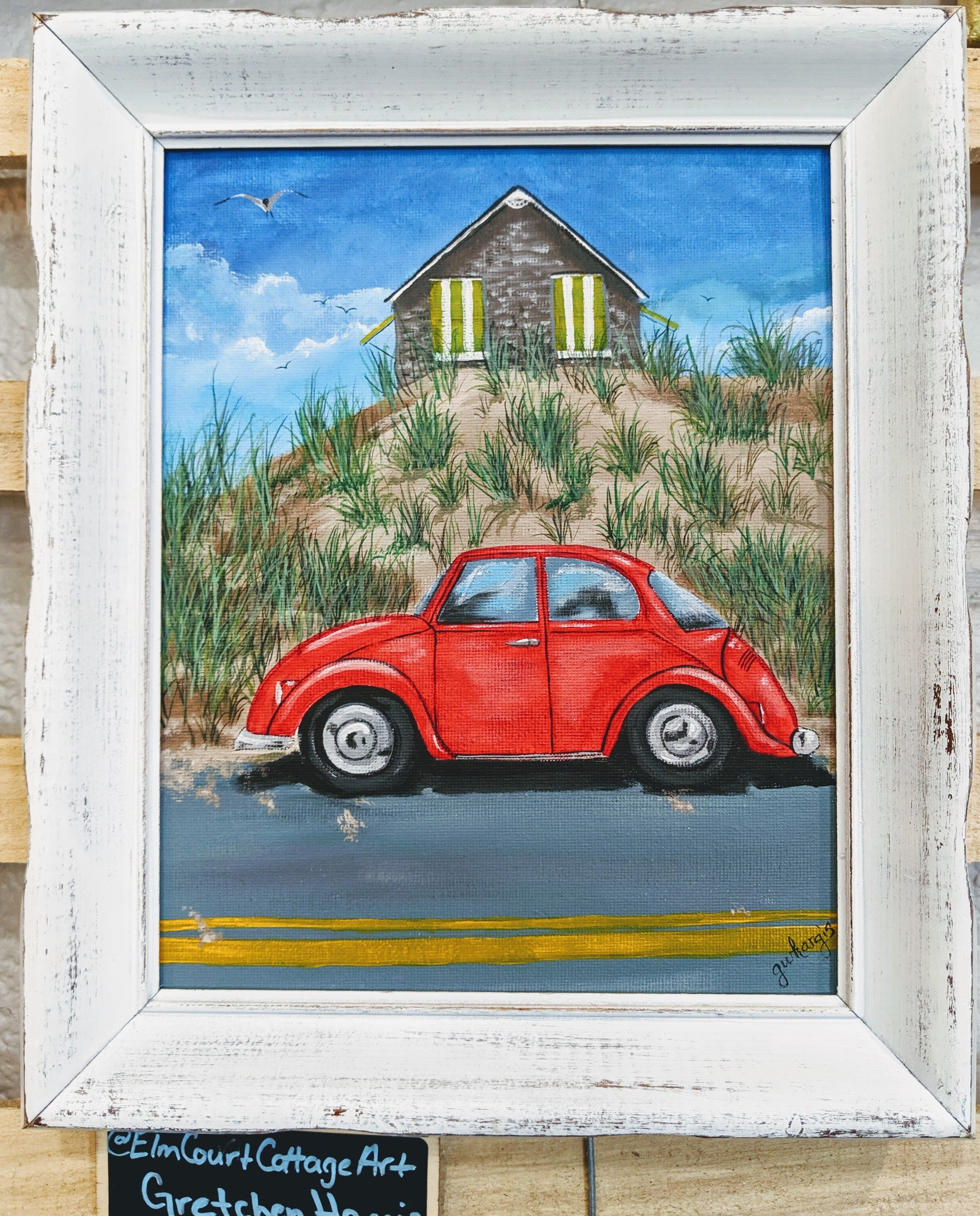 Punch Bug Red Original Acrylic Framed 8x10