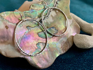 Hand-crafted Hammered Sterling Silver Hoops- Denise Turner Jewelry*