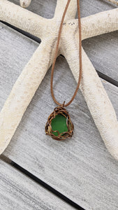 Emerald seaglass, copper wire wrap by Low Tide Jewels