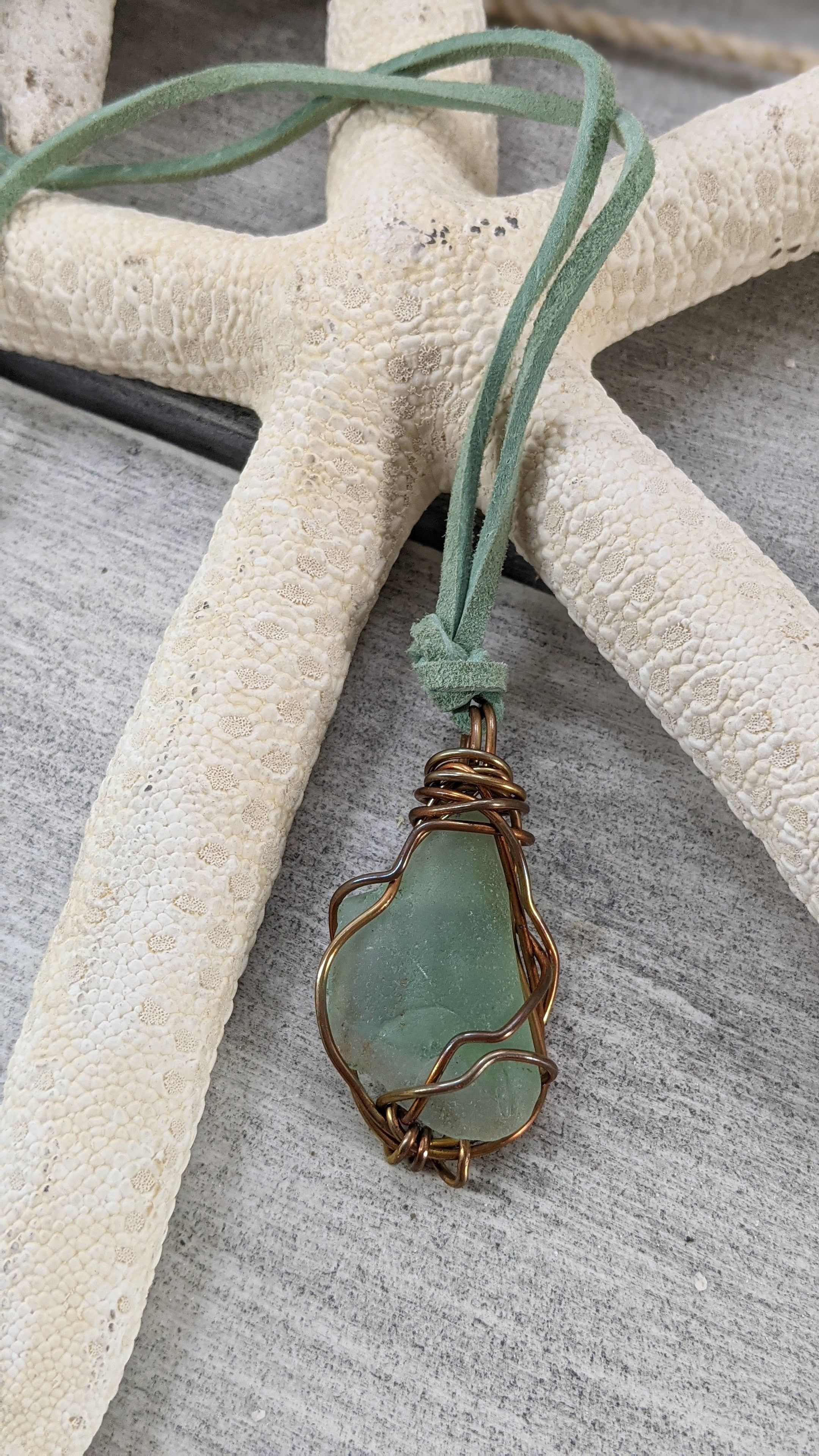 Aqua seaglass, copper wire wrap by Low Tide Jewels