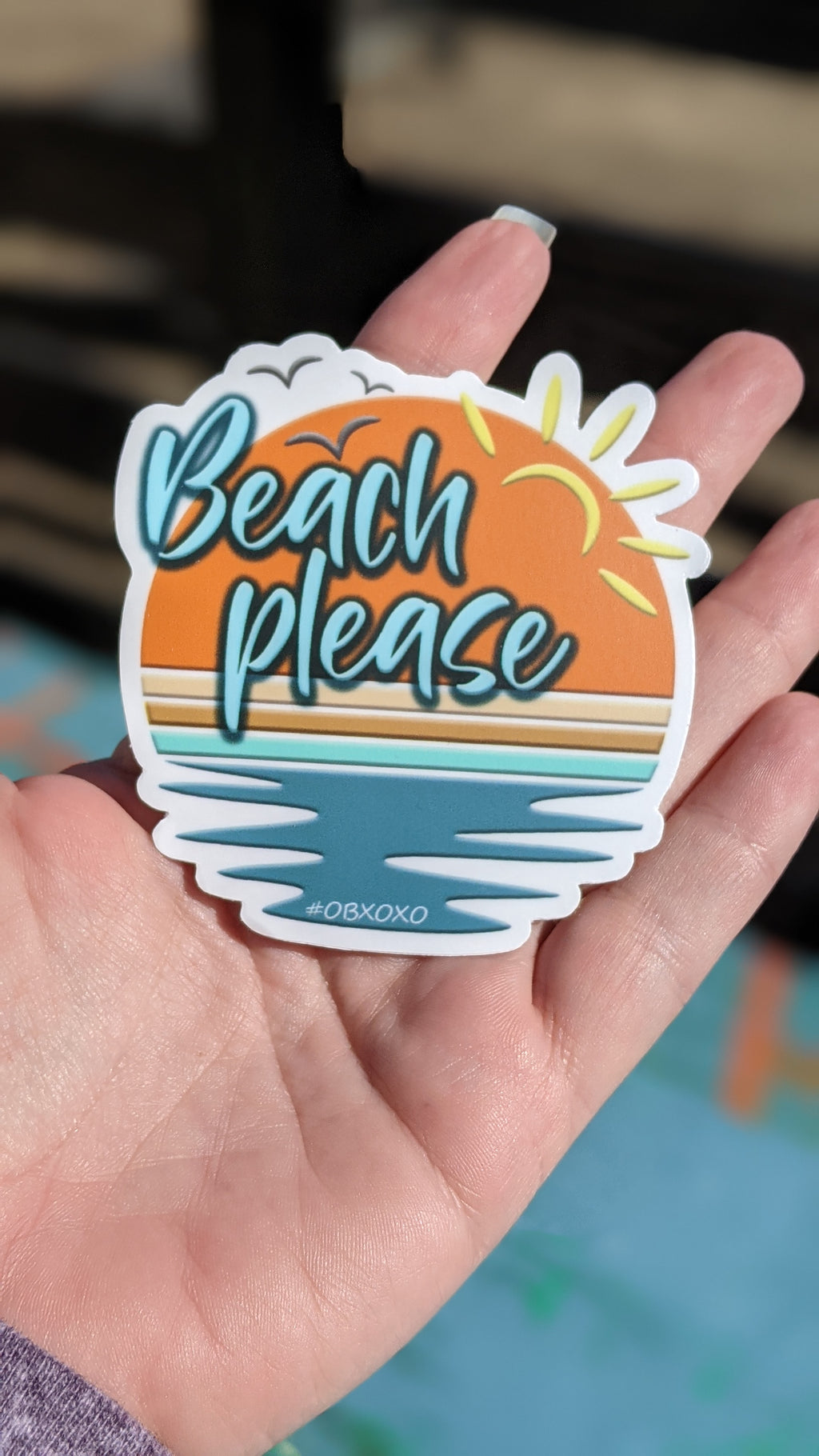 New Beach Please Vinyl Sticker 3in