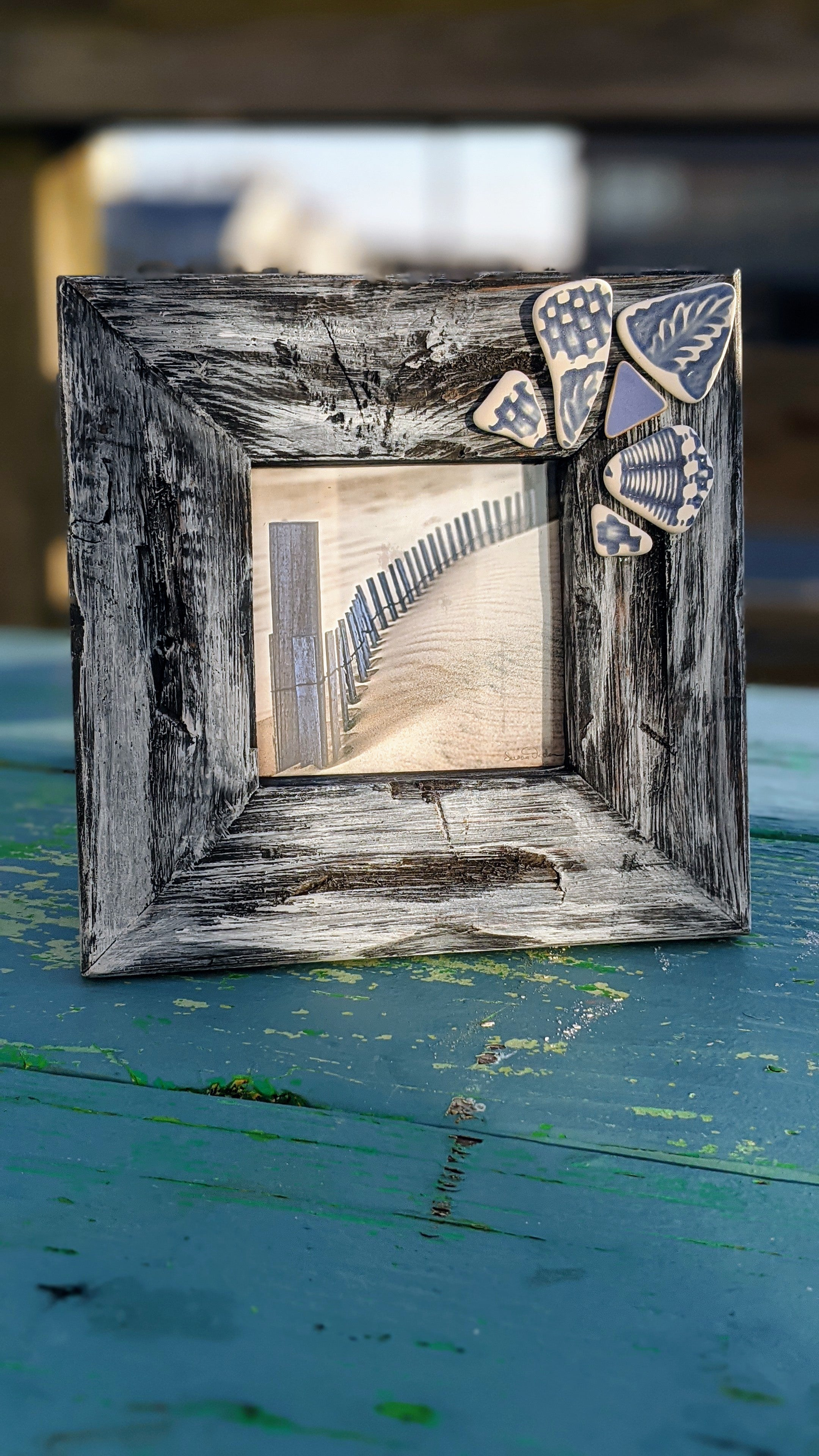 Sandfence photo distressed frame antique tumbled pottery