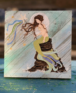 Hand painted mermaid on wood 12x12 Susan Ogden