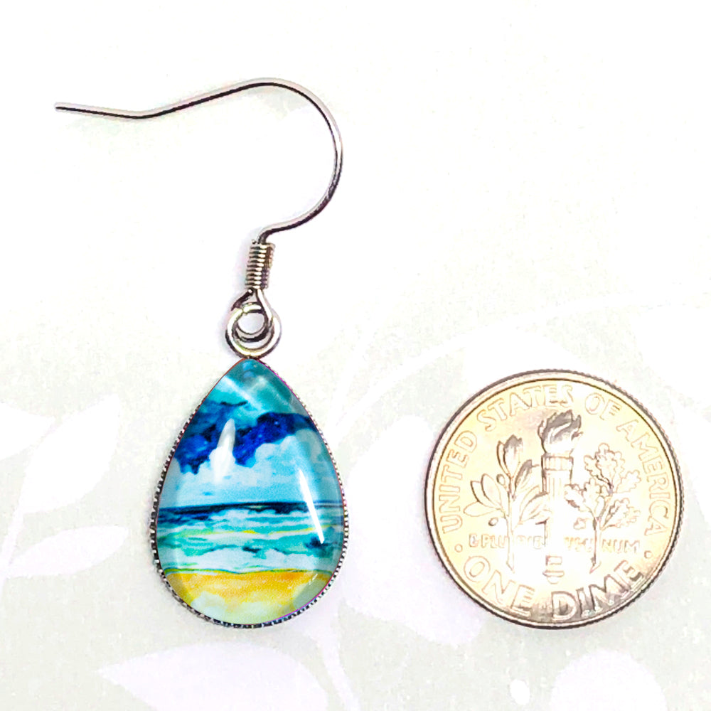 Simple Seascape X - Stainless Steel Earrings - Carolina Coto Art