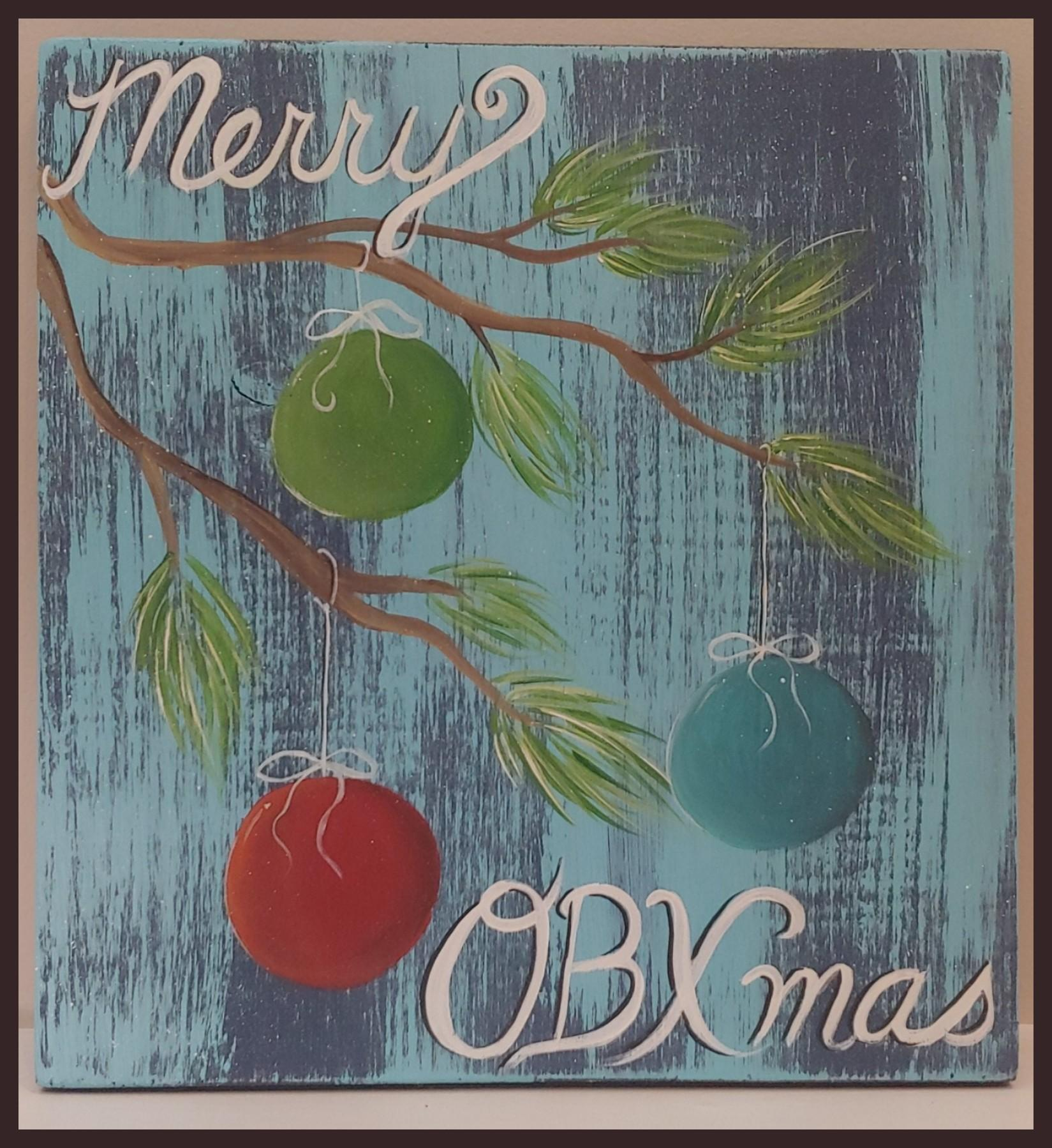 Painting Class - OBXmas on 12x12 Wooden Plank