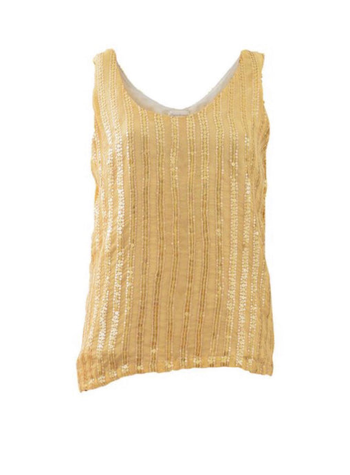 'Golden' sequinned fully lined silk vest
