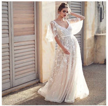 Load image into Gallery viewer, Bohemian Princess Batwing Lace Wedding Dress With Sweep Train