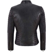 Load image into Gallery viewer, Beautifully Tailored Black Leather Biker Jacket
