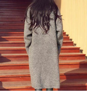 Chic Grey Knit Trenchcoat